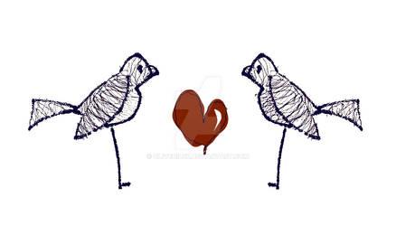 Bird Stand Wire Love Heart Bak