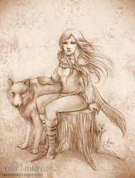 Commission - Luna and Lobo by Bea-Gonzalez