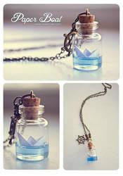Paper Boat bottle Necklace by Bea-Gonzalez