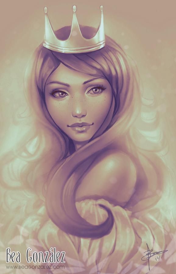 девушка с короной на голове рисунок