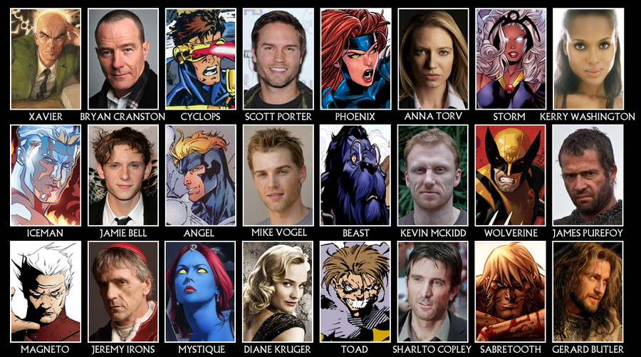 Men Cast X-men casting call by X Men First Class Characters Names