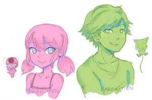 Adrinette with Tikki and Plagg doodle by Karokitten-chan