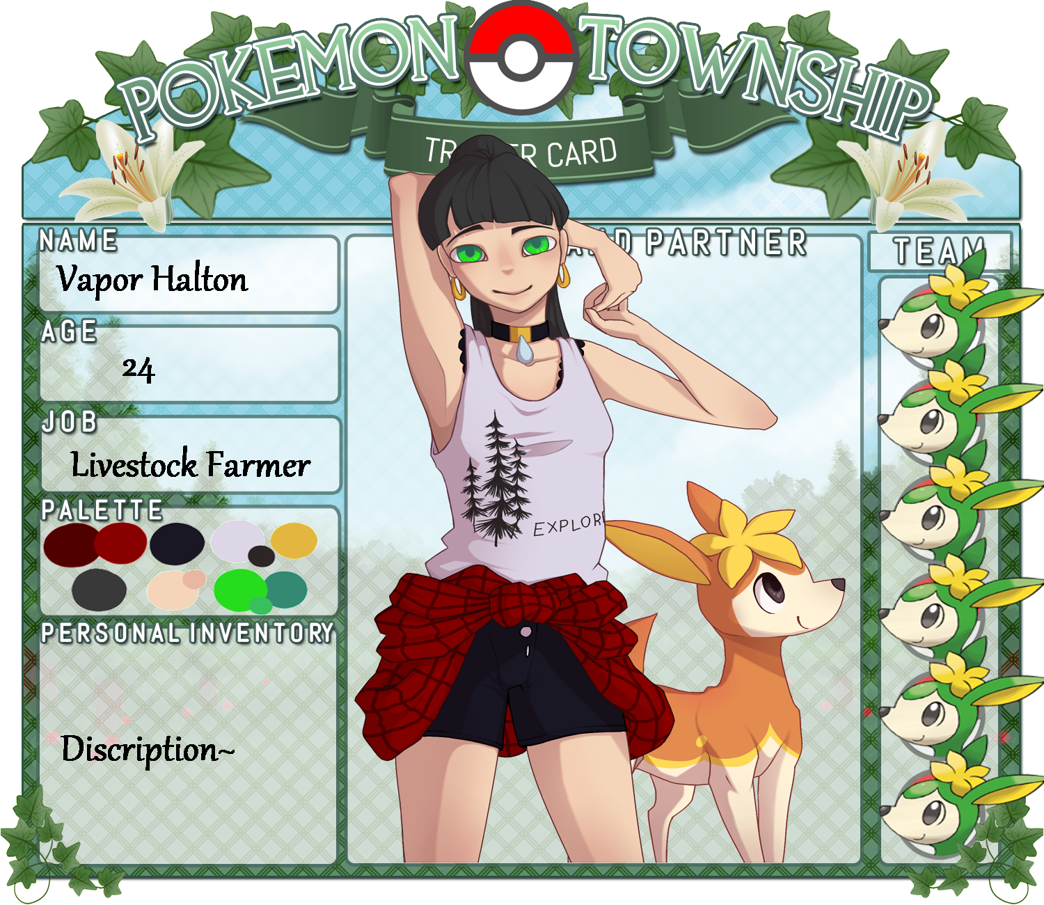 Pts Trainer Card Vapor Halton By Living In Anime On