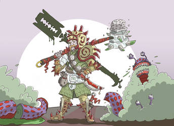 anti-gastropods mercenary by greendragongryphon