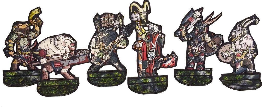 Beastman papaer miniatures by greendragongryphon
