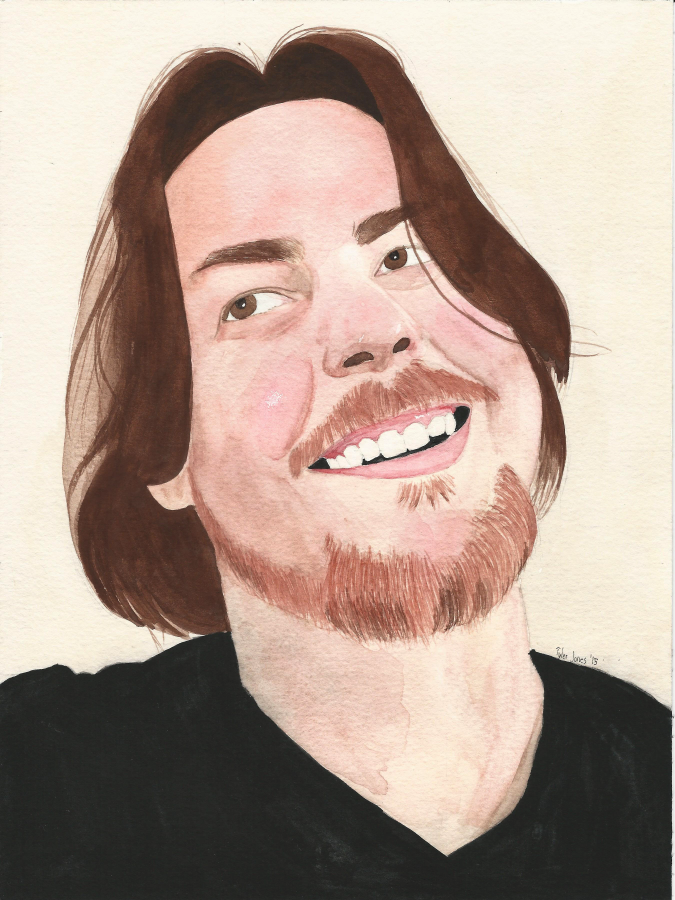 Arin Hanson AKA Egoraptor watercolor Portrait by JusticeDude