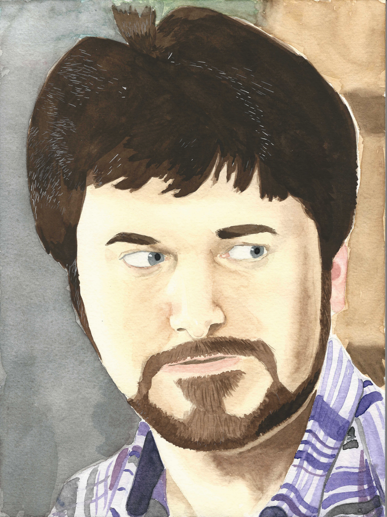 Barry Kramer watercolor portrait by JusticeDude