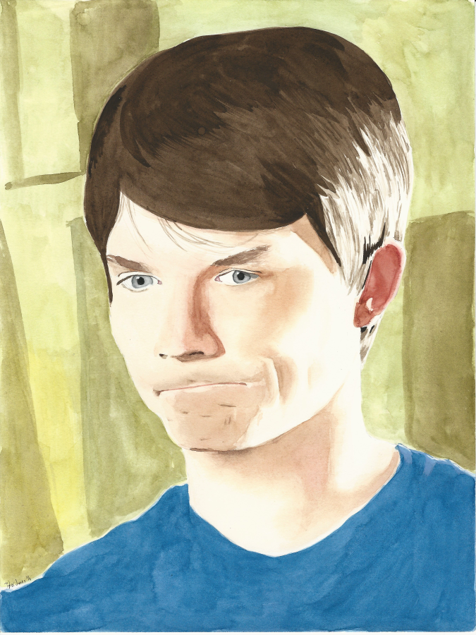Ross watercolor portrait by JusticeDude