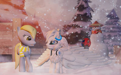 Snowflake meets Derpy (Updated) by ALMarkAZ