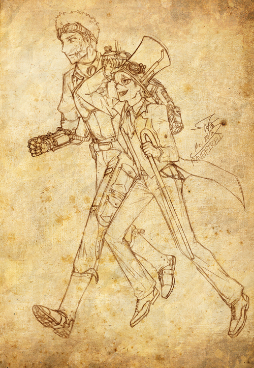 OC: Steampunk Hunter n' Wolfe by ravefirell