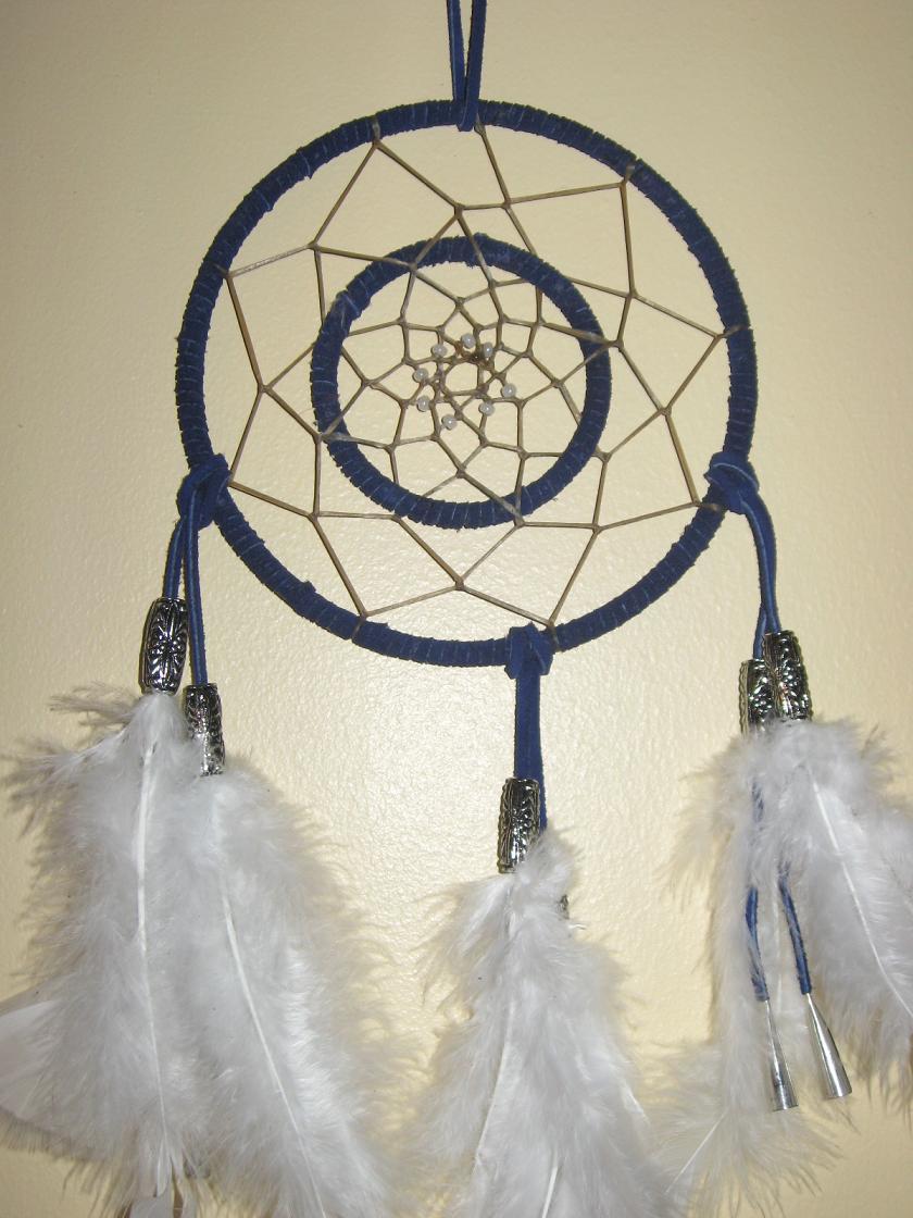 Double blue dreamcatcher by hieisdarkkitten on deviantart for How to make a double ring dreamcatcher