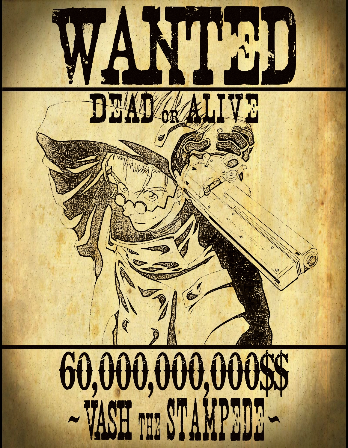 Vash Wanted Poster 20 by Jax89man on DeviantArt – Wanted Sign Font