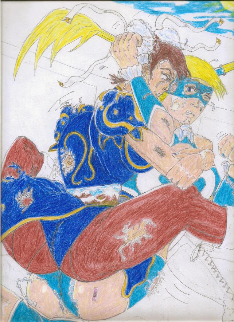 Chun-Li vs. Rainbow Mika! (Blue on Blue)*color#3* by Narked