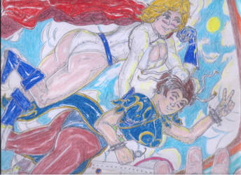 Chun-Li and PowerGirl fly the friendly skies! by Narked