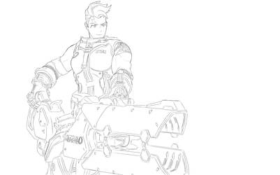 Mouse Drawn characters: Zarya from Overwatch by shadowskyexe