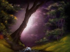 Bob Ross Inspired - dark Forest by Amarbiter