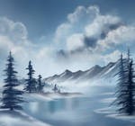 Bob Ross Inspired -blue winter
