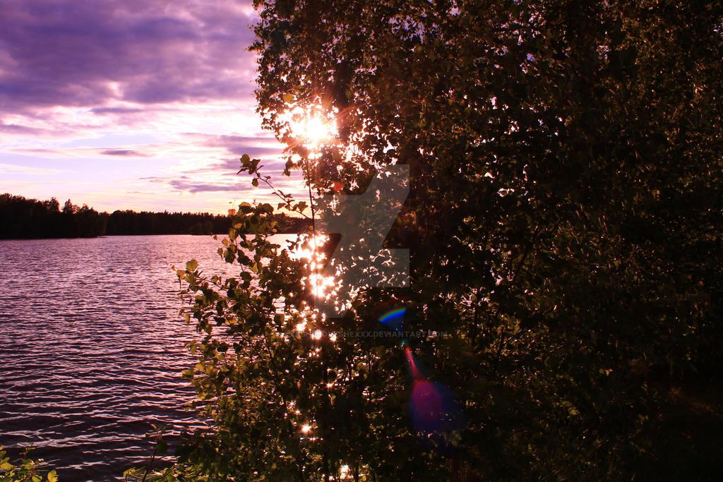 Waterscape early sunset by xXxSheLovesHexXx