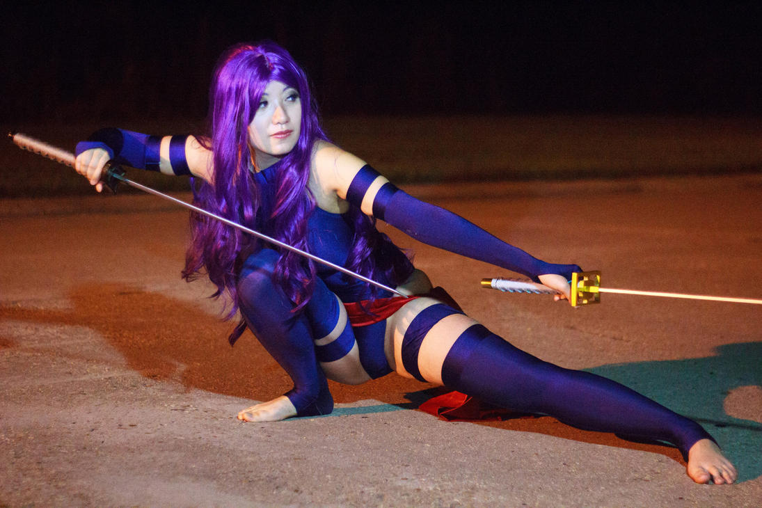 Psylocke Slides on the Ground by firecloak