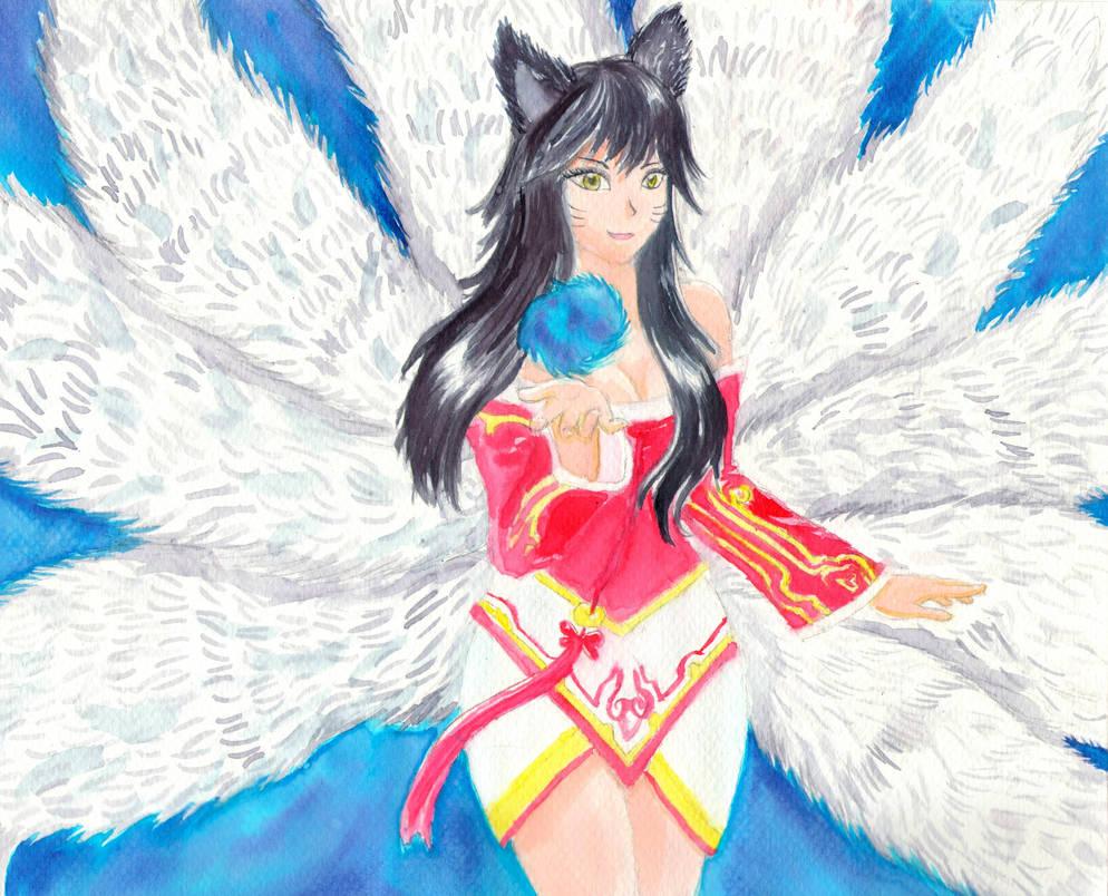 Ahri League of Legends Watercolor Fanart by firecloak