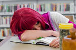 Shirayuki Falls Asleep on Book by firecloak