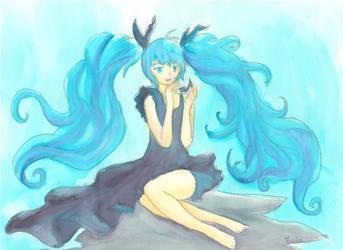 Miku Hatsune, Deep Sea Girl, Watercolor by firecloak