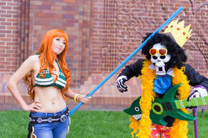 Nami Hits Brook, One Piece Time Skip Cosplay by firecloak