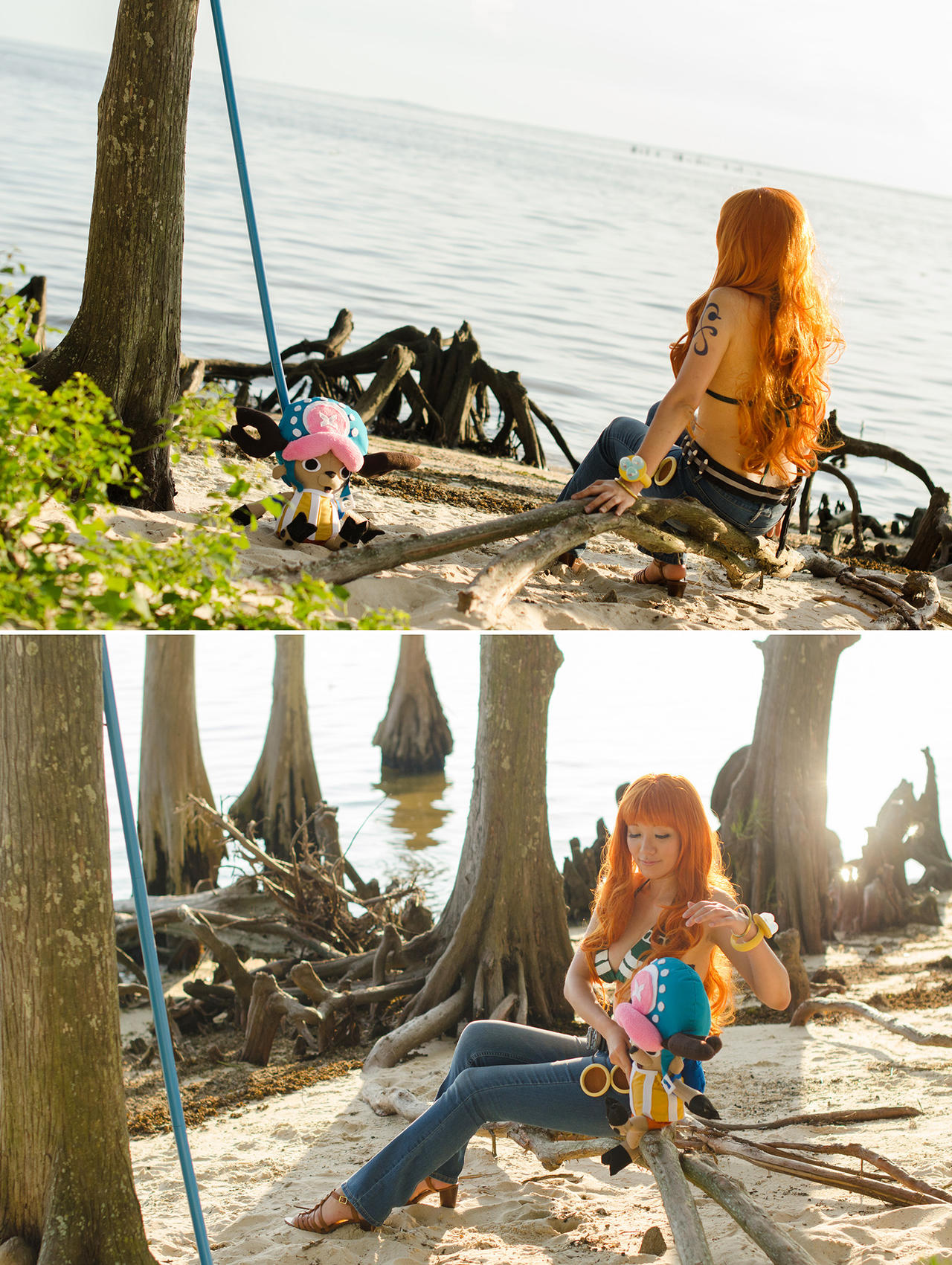 Nami Relaxes with Chopper, One Piece Cosplay by firecloak