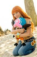 Nami Hugs Chopper, One Piece Cosplay by firecloak