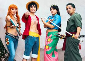 Luffy, Zoro, Nami, Robin One Piece Cosplay by firecloak