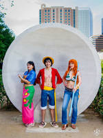 Luffy, Nami, Robin One Piece Cosplay by firecloak