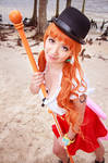 Nami Sexy Pose with Climatact One Piece Cosplay