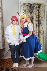 Tohru and Kobayashi, Dragon Maid Cosplay by firecloak