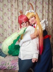 Tohru, Tail and Kobayashi, Dragon Maid Cosplay by firecloak