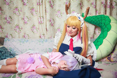 Kanna Sleeps in Tohru's Lap, Dragon Maid Cosplay by firecloak