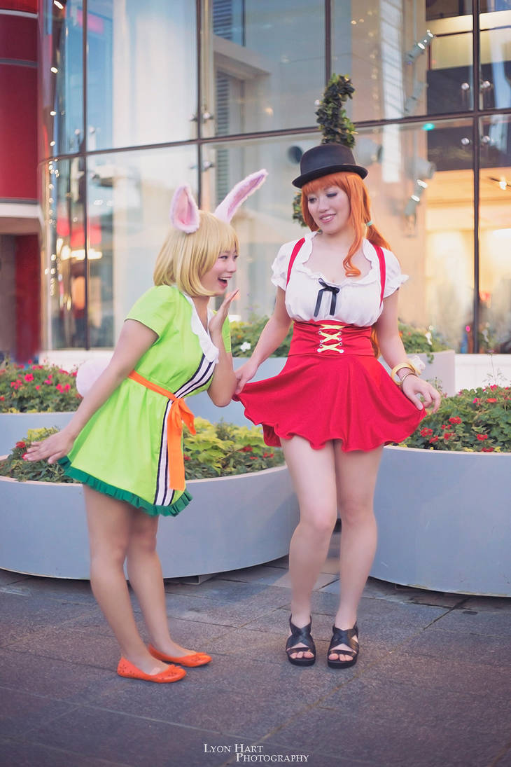 Nami and Carrot Enjoying Whole Cake Island Outfits by firecloak