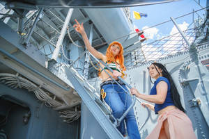 Nami and Robin Explore Ship: One Piece Cosplay by firecloak