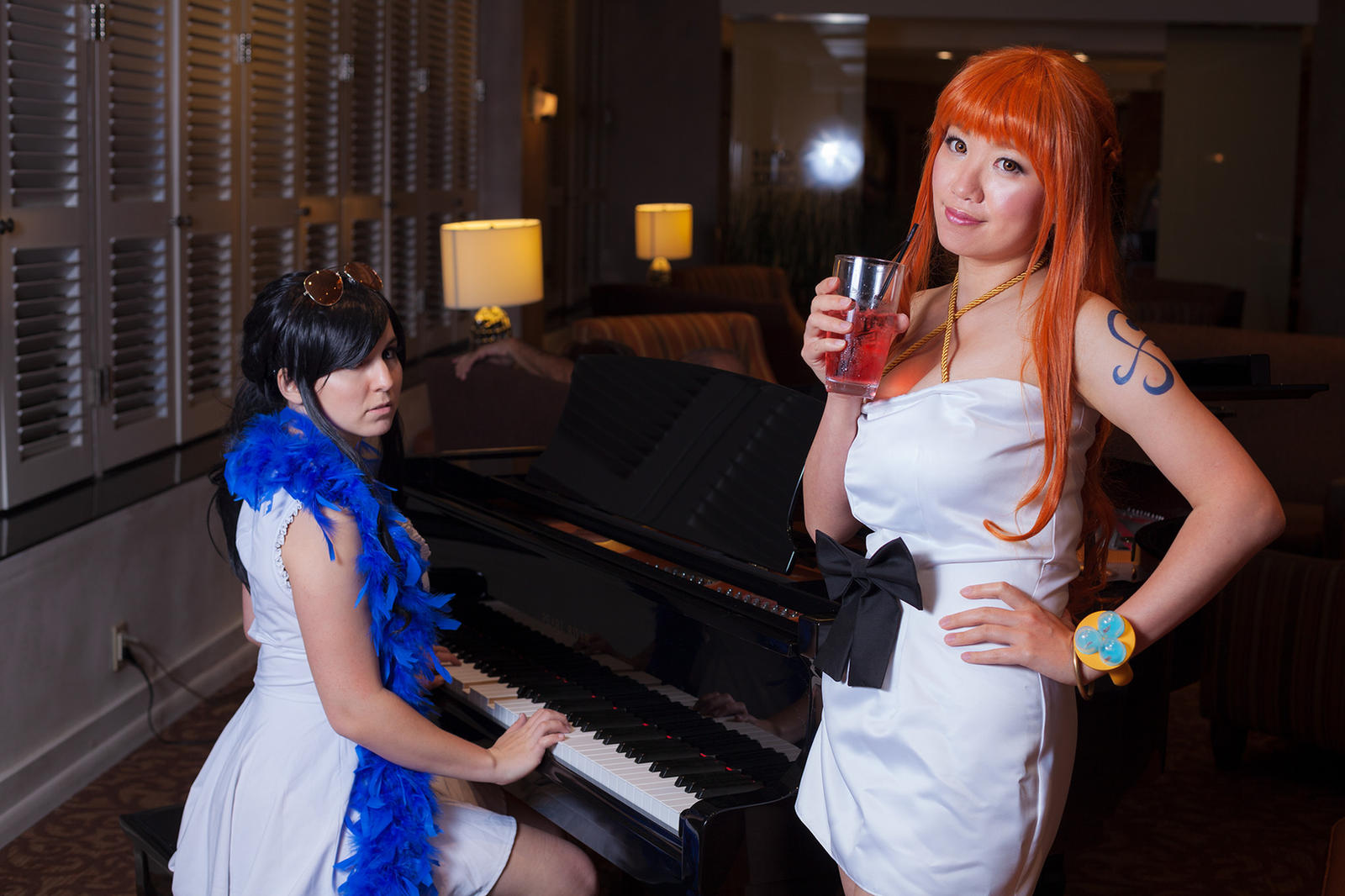 Nami and Nico Robin on Piano One Piece Cosplay by firecloak