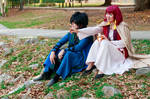Hak and Yona Sitting by the Lake
