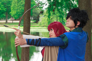Hak Teaches Yona to Shoot an Arrow Cosplay by firecloak