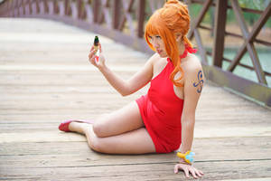 Nami Talking to Luffy Through Mirror Cosplay by firecloak