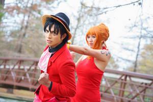 Nami Tells Luffy to Wait-One Piece Gangsta Cosplay by firecloak