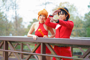 Luffy Tells Nami to Look-One Piece Gangsta Cosplay by firecloak