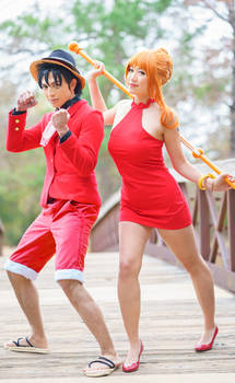 Nami and Luffy Gangsta Red Dress One Piece Cosplay
