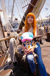 Nami and Chopper on Ship, One Piece Cosplay by firecloak