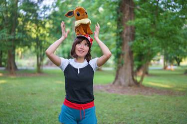 Eevee on my Head - Pokemon Trainer Cosplay by firecloak