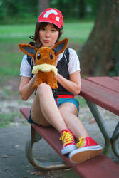 Elaine and Eevee - Pokemon Trainer Cosplay by firecloak