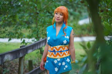 Nami Walks on Bridge - One Piece Wano Cosplay