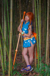 Nami Leans on Climatact - One Piece Wano Cosplay