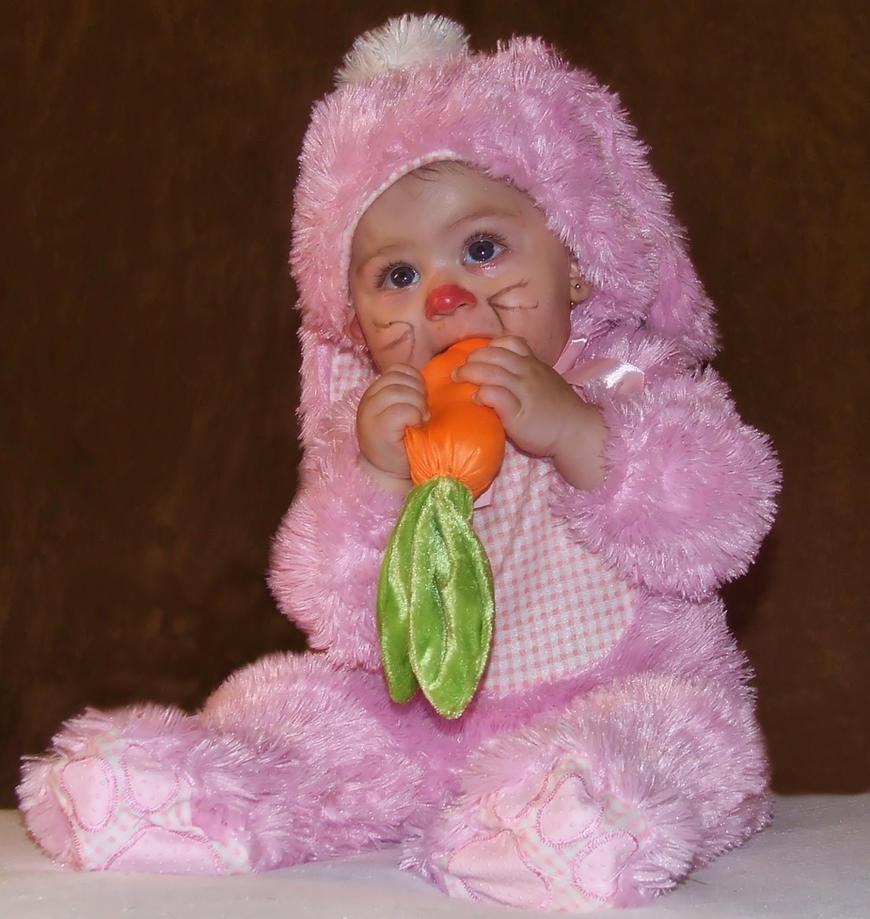 Baby Bunny Rabbit 3 Om Nom Nom by DamselStock